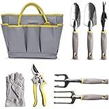 Jardineer 8 Piece Heavy Duty Garden Tools Set With Cast-Aluminum Outdoor Hand Tool Kit, Pruner, Gloves, Big Gardening Tool Organizer Bag for Man and Woman