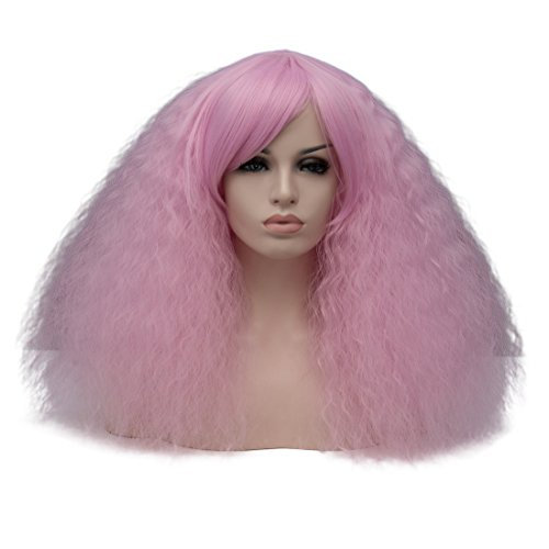 Pink Ladies Costume Hairstyles (Amback Mid Length Fluffy Bob Wig Kinky Curly Wigs for Women Costume Cosplay Wig (Light Pink Purple F15))