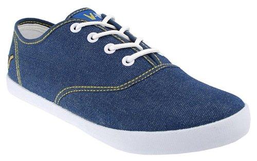 Voi Jeans Fiery pour homme chaussures en toile denim/blanc.