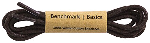 Benchmark Basics Dark Brown 30 Inch Round Waxed Cotton Shoelaces (2mm Width)