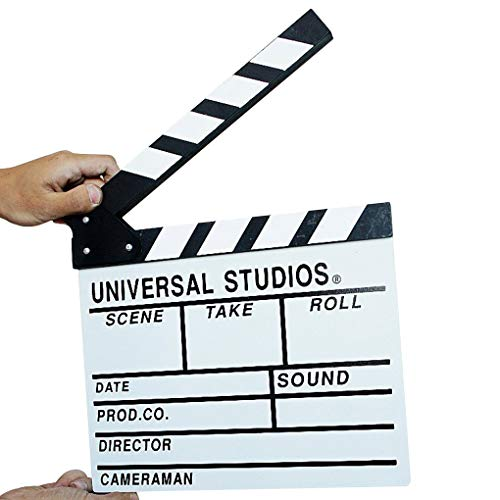 Aulley Wooden Film Video Director Clapboard Movie Cut Action Scene Slateboard Clapper Board Black White ()