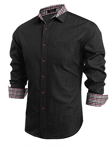 COOFANDY Men's Casual Dress Shirt Button Down Shirts Long-Sleeve Denim Work Shirt (XX-Large, Type 02 - Black)