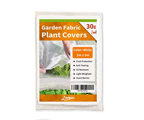 LAVZAN Plant Covers Freeze Protection & Plant Blanket Fabric 6.5' x 16' Rectangle Plant Cover for Cold Weather (30g/㎡,White)
