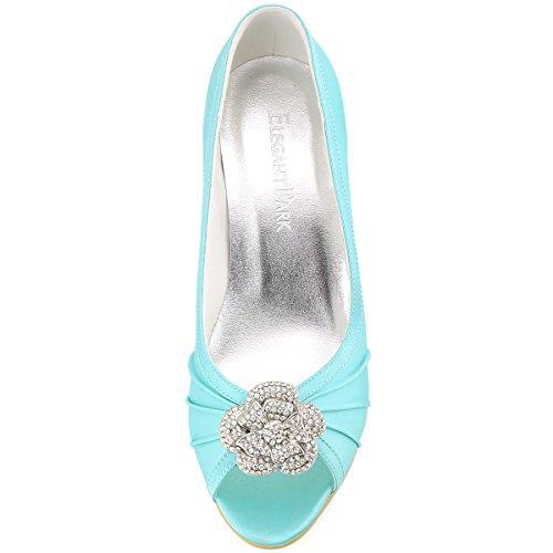 ElegantPark EP2094AF Mujer Peep Toe Plisado AF Desmontable Zapatos Clips El tacón alto Satén Noche Zapatos de Baile Menta