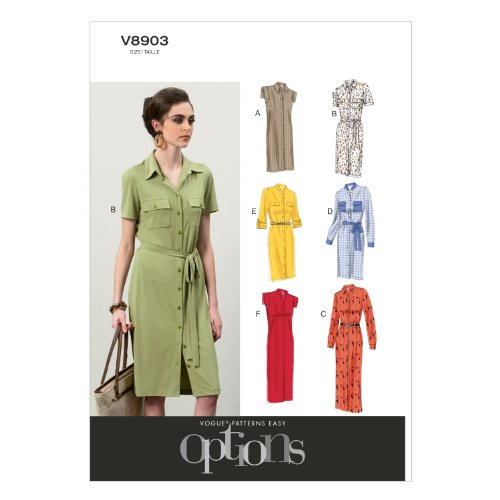 Vogue Patterns V8903 Misses' Dress and Belt Sewing Template, Size (Vogue Belt)