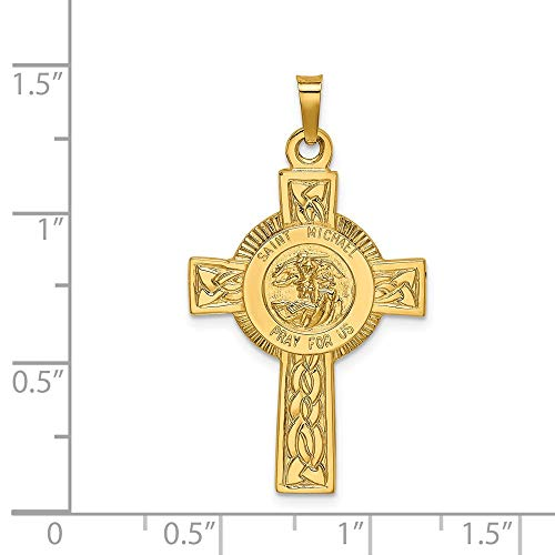 14k Yellow Gold Cross with St. Michael Medal Pendant ()