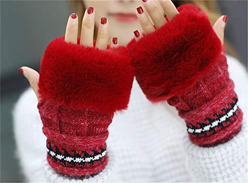 Punto Calor Hats Pompom Sombrero Set Gorras Mujeres Lindo Elasticidad Niñas Sombreros Beanie Tres Hecho Invierno Bolas Rojo Hat con Knit Guantes wU65xFEq6