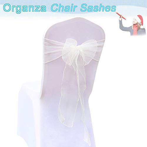 BIT.FLY 100 Pcs Organza Chair Sashes for Wedding Banquet Party Decoration Chair Bows Ties Chair Cover Bands Event Supplies - Ivory]()