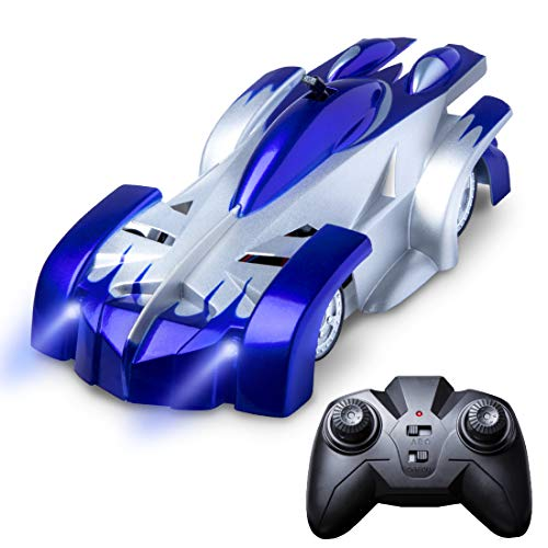 Gravity Defying RC Car Toys - Remote Control Car Toys for Boys or Girls, LED Light Up Stunt Cars for Kids w/ Remote Control (Blue)