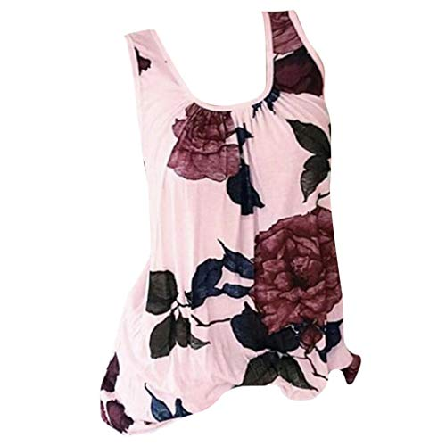Womens Sleeveless T-Shirt Tees Casual Flower Print CrewneckPlus Size Blouse Tops