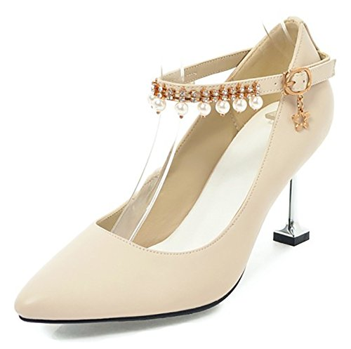 Aisun Womens Beaded Rhinestone Buckled Dressy High Stiletto Heel Pointed Toe Pumps Shoes With Ankle Strap Beige 8uJfUX8wgW