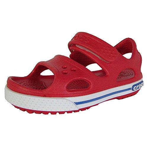Crocs Kids Crocband II Open Toe Sandal Shoes, Red/White, US 8