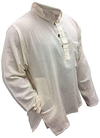 Shopoholic Fashion Plain Grandad Shirt(S,Cream)