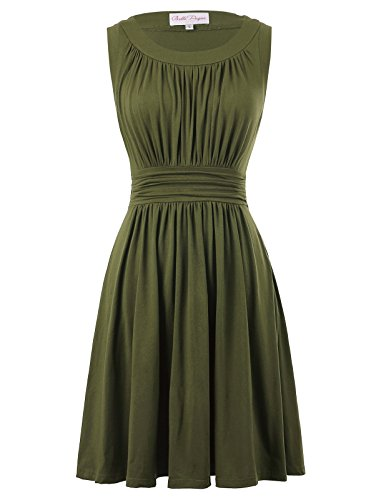 Belle Poque Cotton Elastic Summer Swing Dress A-line Plus Size 3XL Olive Green BP289-4