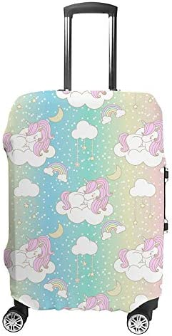 スーツケースカバー ユニコーン ピンク 虹色 伸縮素材 キャリーバッグ お荷物カバ 保護 傷や汚れから守る ジッパー 水洗える 旅行 出張 S/M/L/XLサイズ