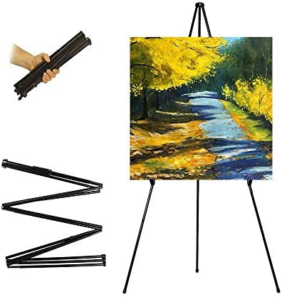 63″ Tall Display Easel, Folding Instant Poster Easel, Black Steel Metal Telescoping Art Easel for Display Show, Easy Assembly (1Pack)