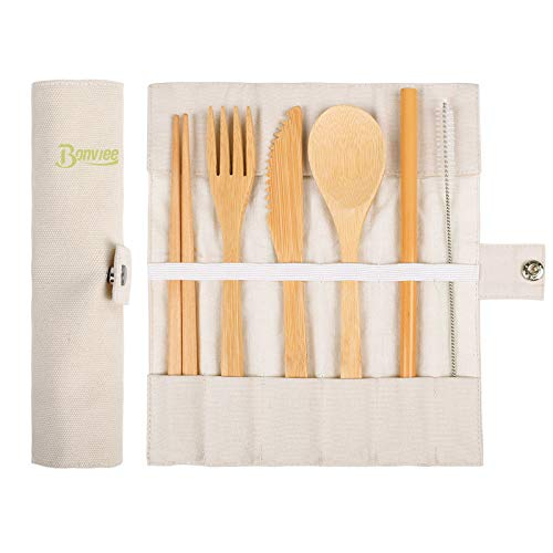 Bamboo Cutlery Set | Travel Utensil Set | Portable Flatware Set with Case, Knife, Fork, Spoon, Chopsticks, Straw and Brush Eco-Friendly for Outdoor Camping Office School Lunch (7 Piece)