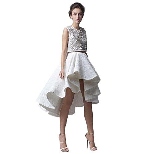 Price comparison product image Scott-Vincent Borba Haute Couture Hand Beaded Two Piece Bolero Gown, White