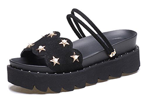 Femaroly Thick-Soled Sandals for Women and Grils Summer Leather Open Toes Slippers Black 5M