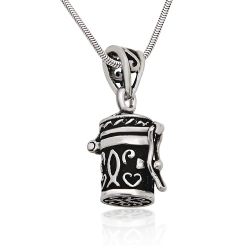 Prayer Locket (925 Sterling Silver Antique Style Poison Prayer Box Cross Locket Pendant on Alloy Necklace Chain)