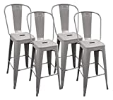 Ravenna Home High Back Bistro Metal Bar Stool, 40.25″H, Gray (4 Pack)