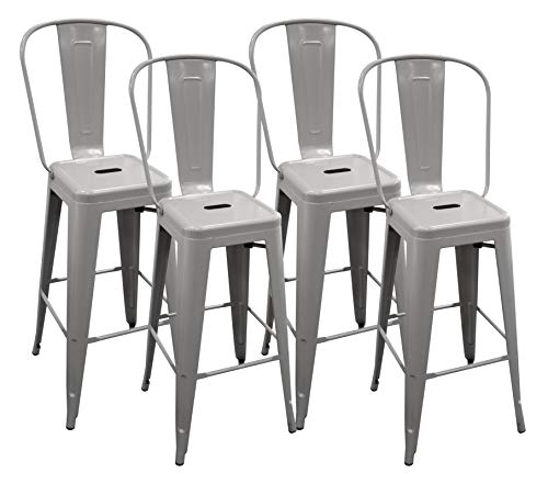 Ravenna Home High Back Bistro Metal Bar Stool, 40.25 H, Grey 4 Pack