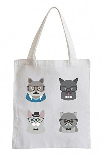 Raxxpurl Hipster Old Cats Fun sacchetto di iuta