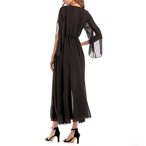 Neck A irrgulire Ligne V Party en Color Mousseline de Maxi Longues Taille Haute Soie Size Manches Robe Cocktail de Black M 7qtdtP