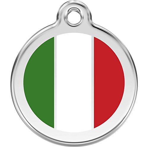 Italian Dog Tag - Red Dingo Personalized Italian Flag Pet ID Dog Tag (Large)