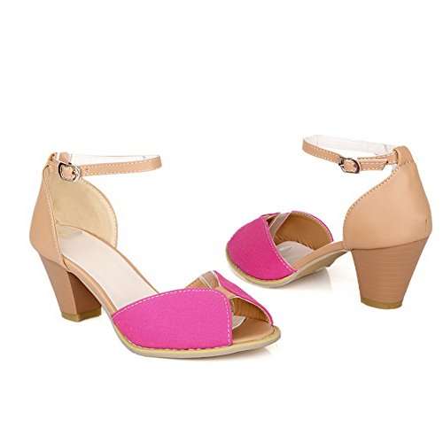 Heel with Sandals and Peep Red AmoonyFashion Thread Colors Chunky Toes Open Womens Mid PU Assorted gwqazX