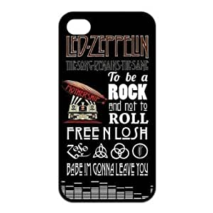 Metal rock band Led Zeppelin Snap On iPhone 4 / 4S Black Silicone Case and Water Proof iPhone 4 / 4S
