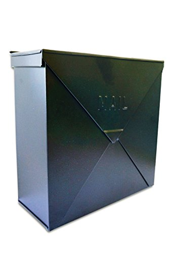 "NACH MB-6300BLK Chicago Black Industrial Style Mailbox - Wall Mounted, Matte Black, 10"" x 10"" x 4"""