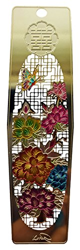 Peony Blossom Asian Metal Bookmark Laser etched Gold Plated 1