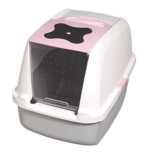 Catit Hooded Cat Litter Pan, White/Pink by Catit