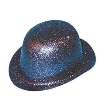 b586b3fecce Glitter Plastic Bowler Hat Accessory for Circus Clown Fancy Dress Hat  Glitter Black Plastic Bowler  Amazon.co.uk  Clothing