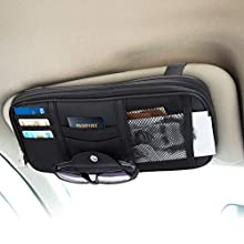 Car Sun Visor Organizer, LINKSTYLE Auto Car Interior Leather Accessories Storage Pocket Sun Visor Pouch Case Bag for Card License Registration Pen Mobile Phone Bill Note Key Document (Black)