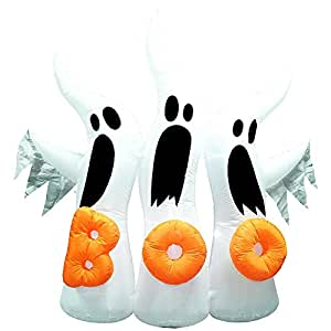 Tamie's Tees And Things Boo Orange Word On White Trio Ghosts Lights Up Inflatable Ghosts Halloween Yard Decor