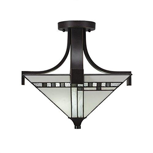 Toltec Lighting Apollo 3 Light Semi-Flush, Square New Deco Tiffany Glass ()