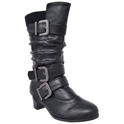 Price comparison product image Generation Y Kids Girls Knee High Boots Ruched Faux Leather Strappy Buckle Low Heel Shoes Black SZ 5 Youth