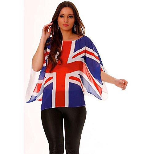 Miss Wear Line - Tunique blanc manches courtes col rond avec drapeaux anglais
