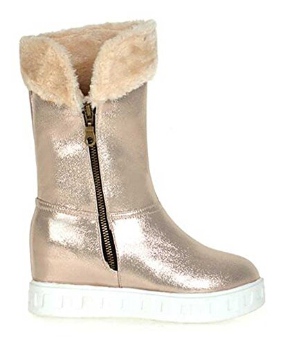 Chfso Mujeres Warm Solid Round Toe Zipper Plataforma De Tacón Medio Winter Snow Bota Gold