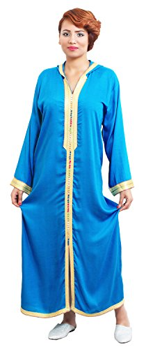 Moroccan Caftans Women Hand Made Breathable Hooded Caftan Fits Small To Medium Embroidered Turquoise