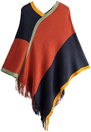 Pumsun Women's Winter Fashion Stitching Print Long Shawl Stole Wrap Scarf Tassel Batwing Shawl Sweater Tops for Women