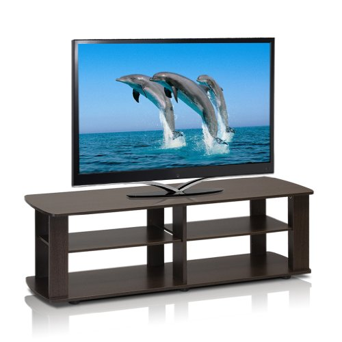 Furinno 11191DBR The Entertainment Center Television Stand, Dark (Short Entertainment Stand)