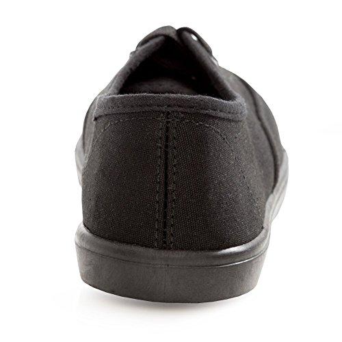 H2k Sport Womens [lätt] Mode Spets-up Bekväma Vadderade Sneakers Skor Black & Svart