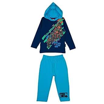Turtles Boys Pajama Set With Hood [7-8 Years, Blue - 2969120067]