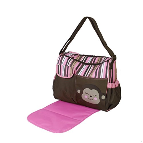 Multifunctional Mummy Handbag Baby Diaper Nappy Changing Bag Stripes Pink Monkey Pattern