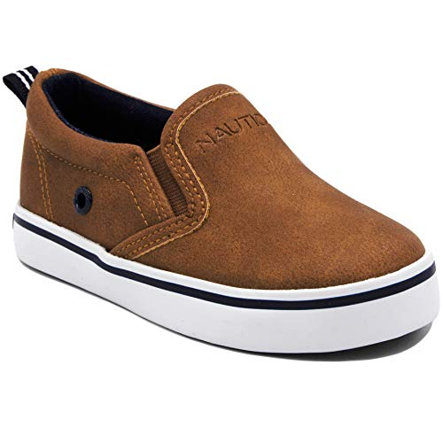 Nautica Akeley Toddler Canvas Sneaker Slip-On Casual Shoes-Tan Smooth -6 ()