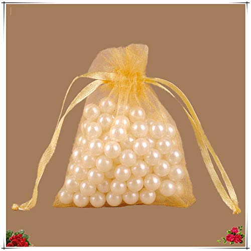 XLPD 25Pcs 20X30 25X35 30X40 35X50cm Organza Jewelry Packing Bags Candy Gift Pouches for Kids Wedding Party Decoration Supplies 5Z Gold 20x30 -