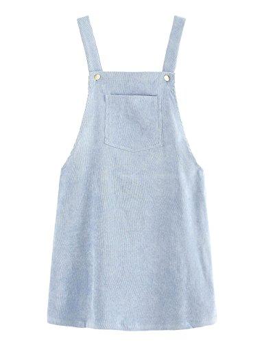 Romwe Women's Straps A-line Corduroy Pinafore Bib Pocket Overall Dress Sky Blue ()